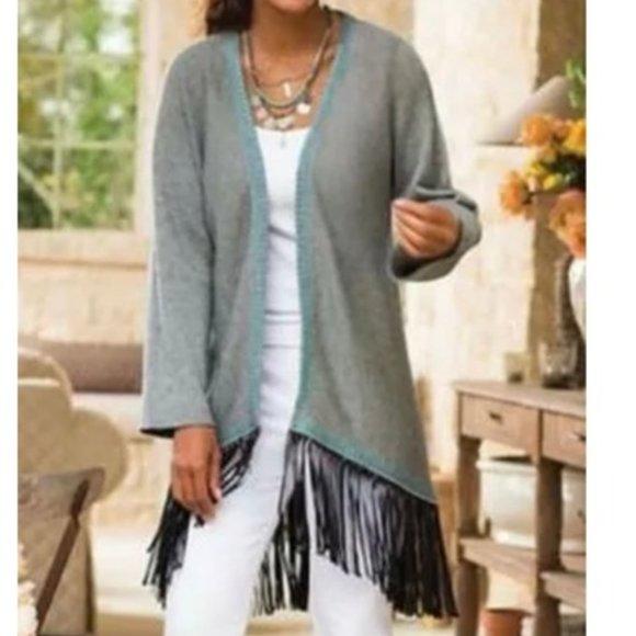 Soft Surroundings Gray Cardigan Fringe Duster Sweater